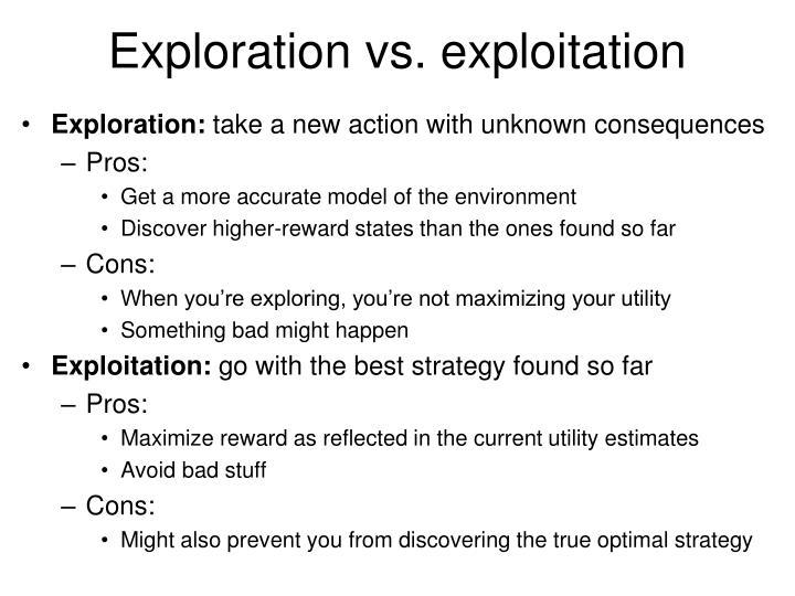 Exploration vs. exploitation