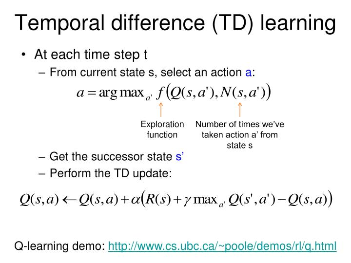 Temporal difference (TD) learning