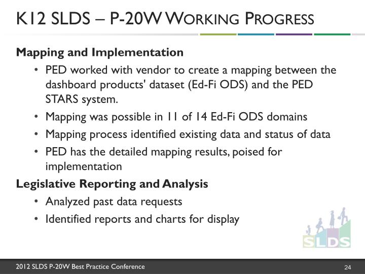 K12 SLDS – P-20W Working Progress