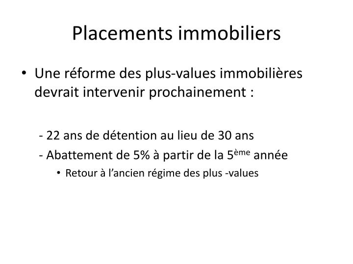 Placements immobiliers