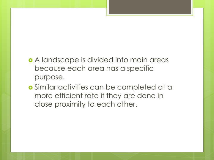 A landscape is divided into main areas because each area has a specific purpose.