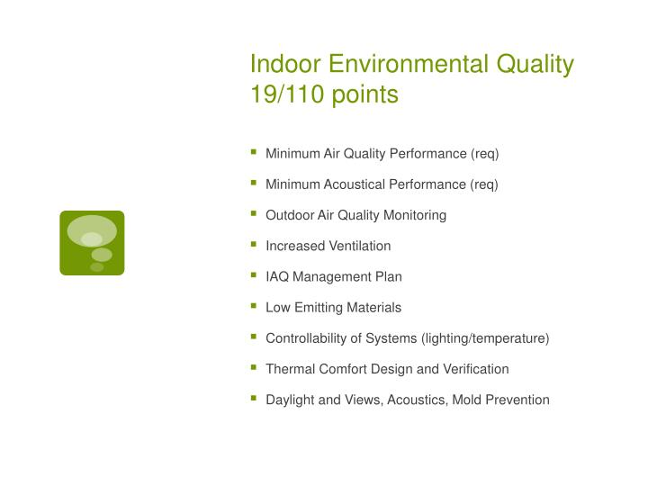 Indoor Environmental Quality 19/110 points