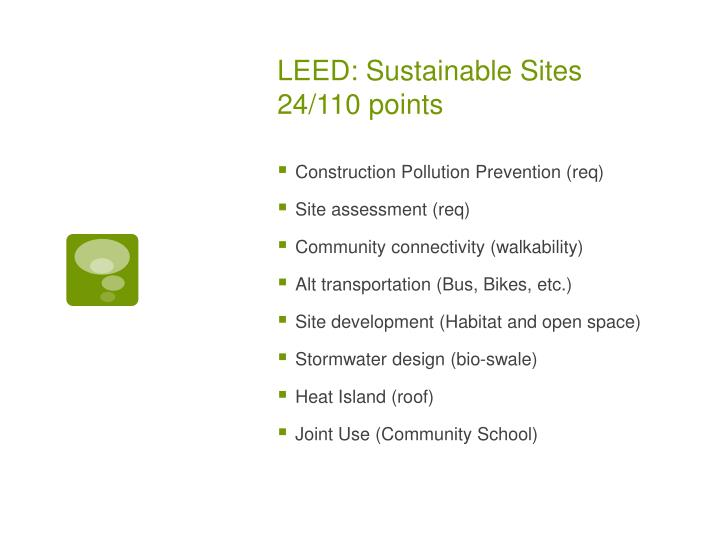 Leed sustainable sites 24 110 points