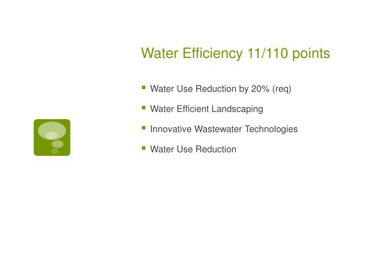 Water Efficiency 11/110 points