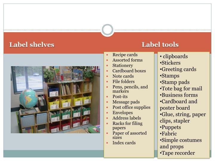 Label shelves