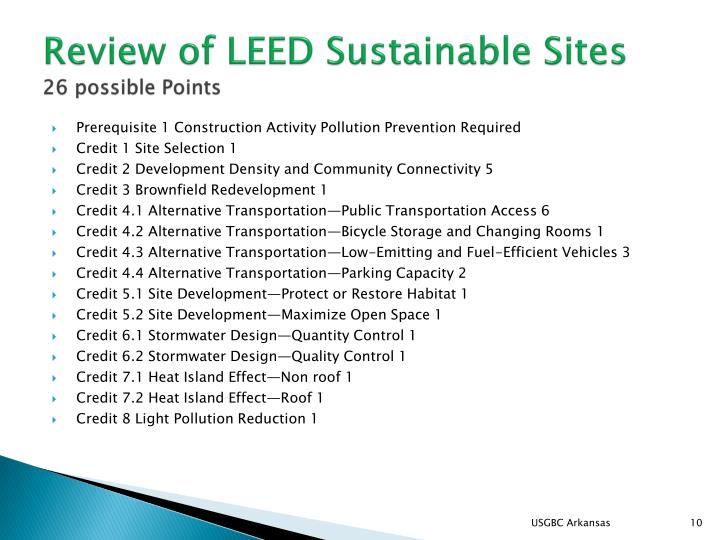 Review of LEED Sustainable