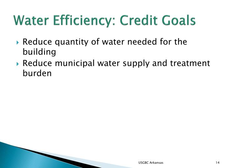 Water Efficiency: Credit Goals