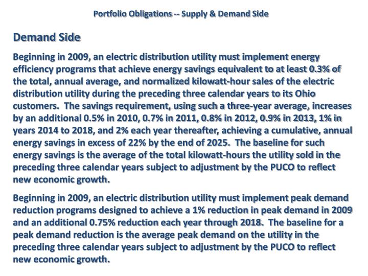 Portfolio Obligations -- Supply & Demand Side