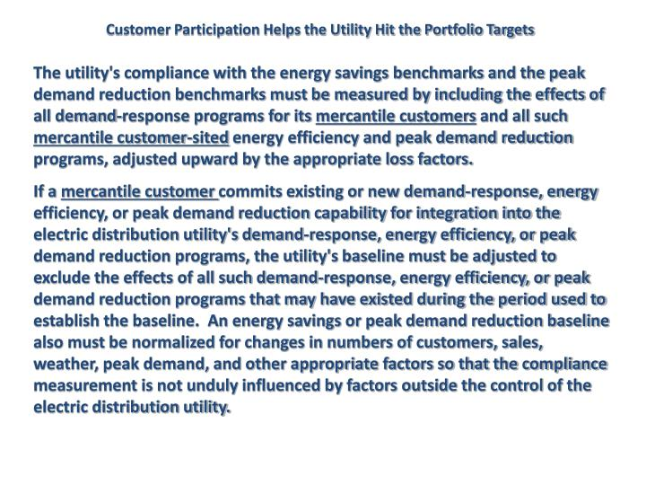 Customer Participation Helps the Utility Hit the Portfolio Targets