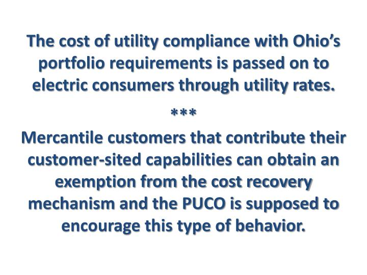 The cost of utility compliance with Ohio's portfolio requirements is passed on to electric consumers through utility rates.