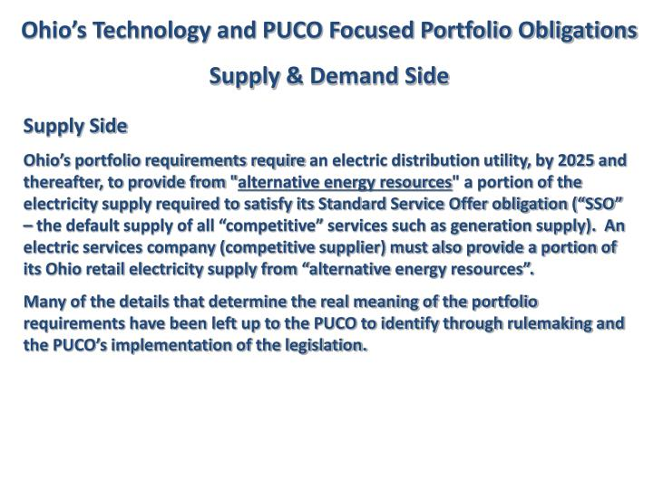 Ohio's Technology and PUCO Focused Portfolio Obligations
