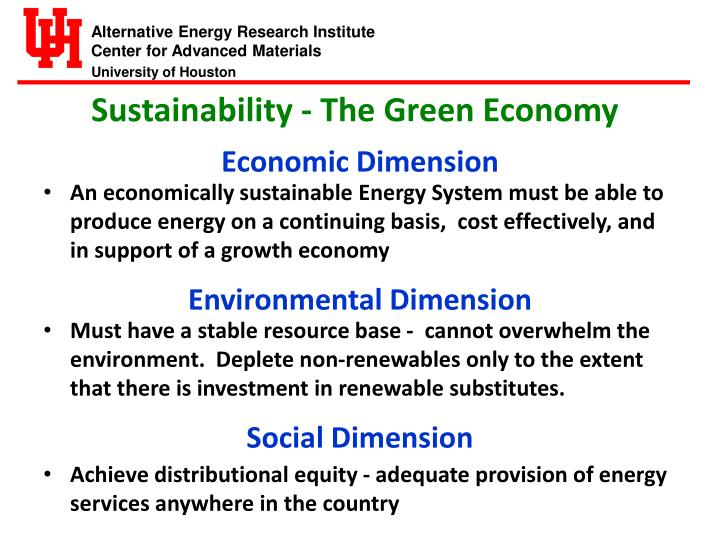 Sustainability - The Green Economy
