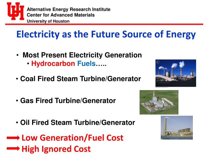 Electricity as the Future Source of Energy