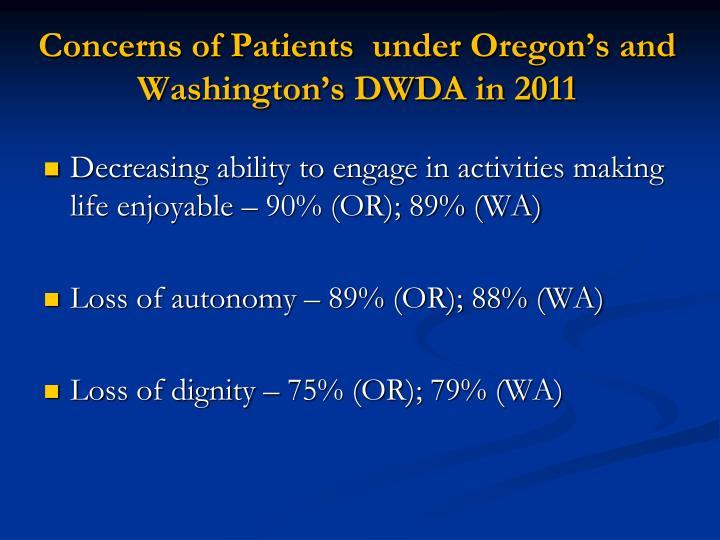 Concerns of Patients  under Oregon's and Washington's DWDA in 2011