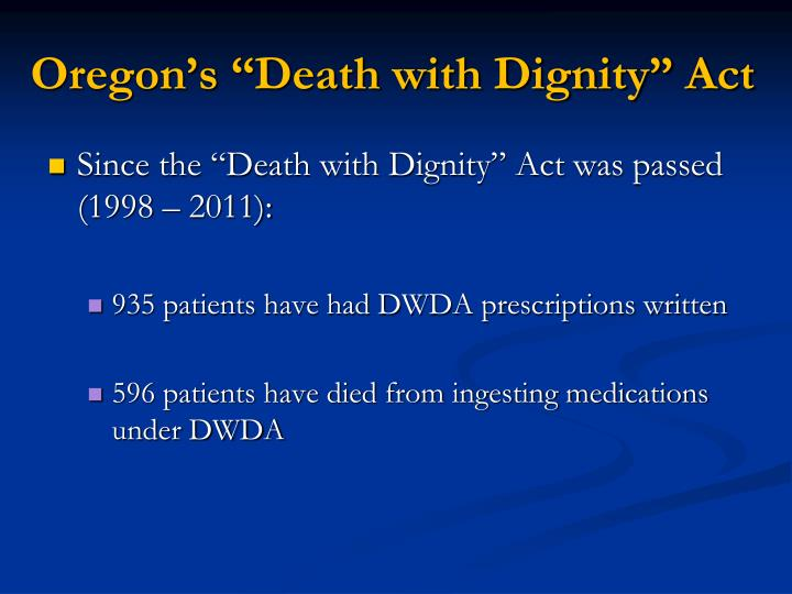 "Oregon's ""Death with Dignity"" Act"