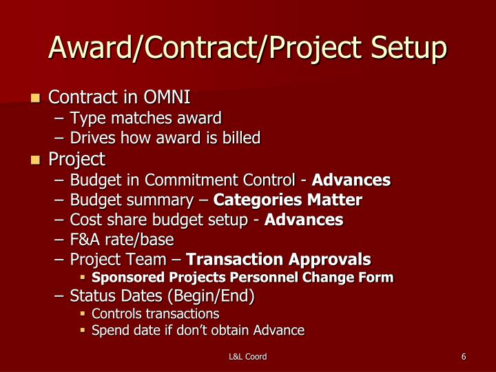 Award/Contract/Project Setup