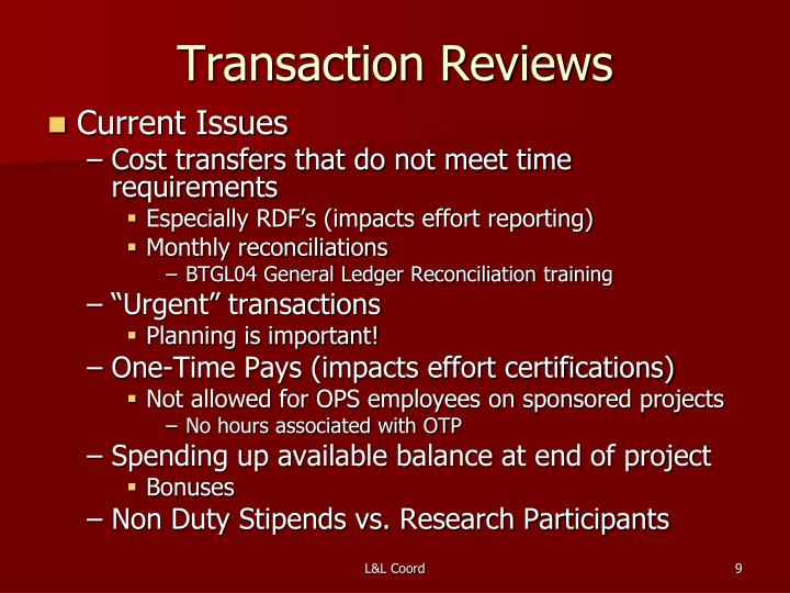Transaction Reviews
