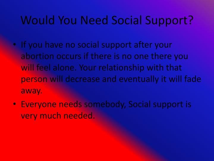 Would You Need Social Support?