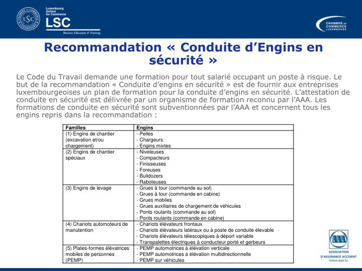 Recommandation «Conduite d'Engins en sécurité»