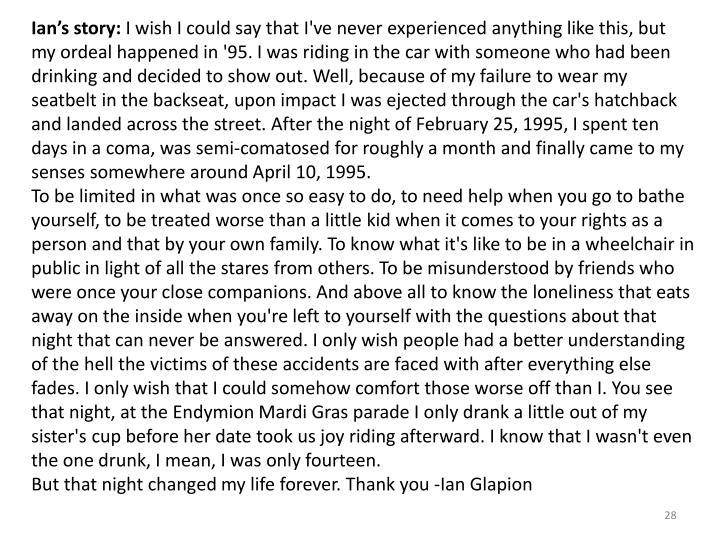 Ian's story: