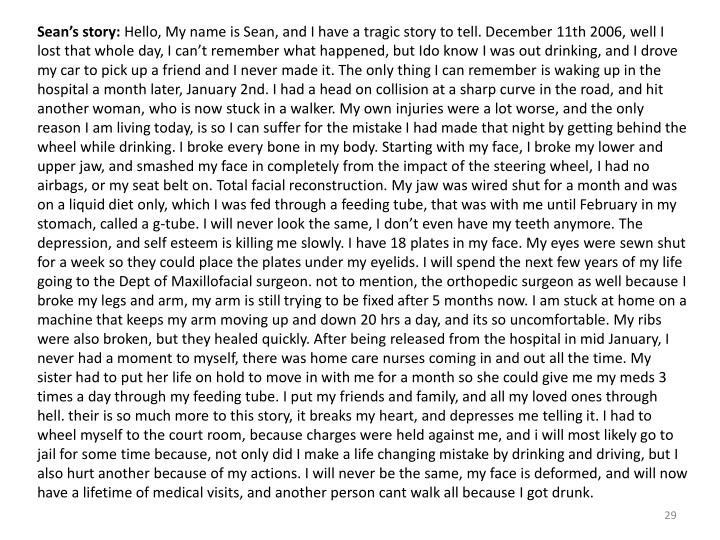 Sean's story: