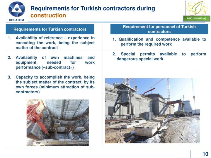 Requirements for Turkish contractors