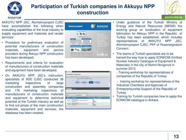 Participation of Turkish companies in Akkuyu NPP construction