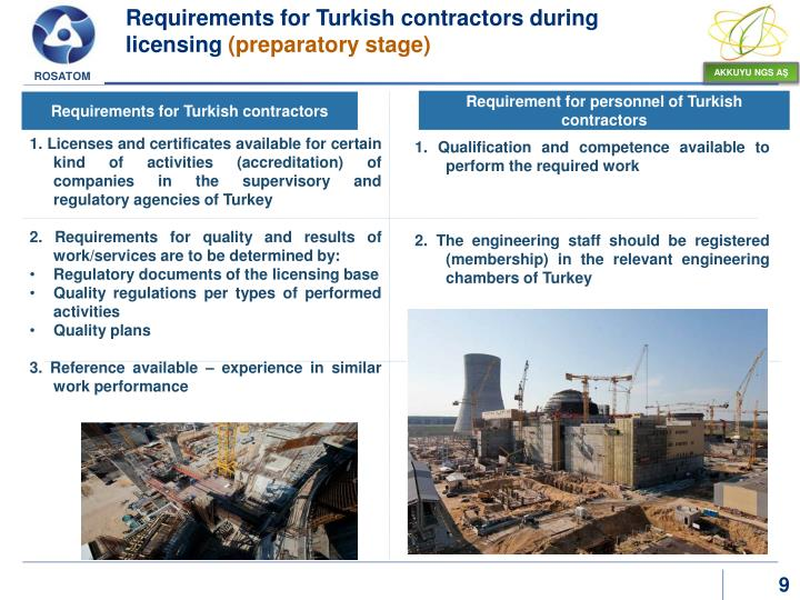 Requirements for Turkish contractors during licensing