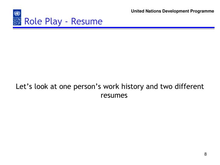 Role Play - Resume
