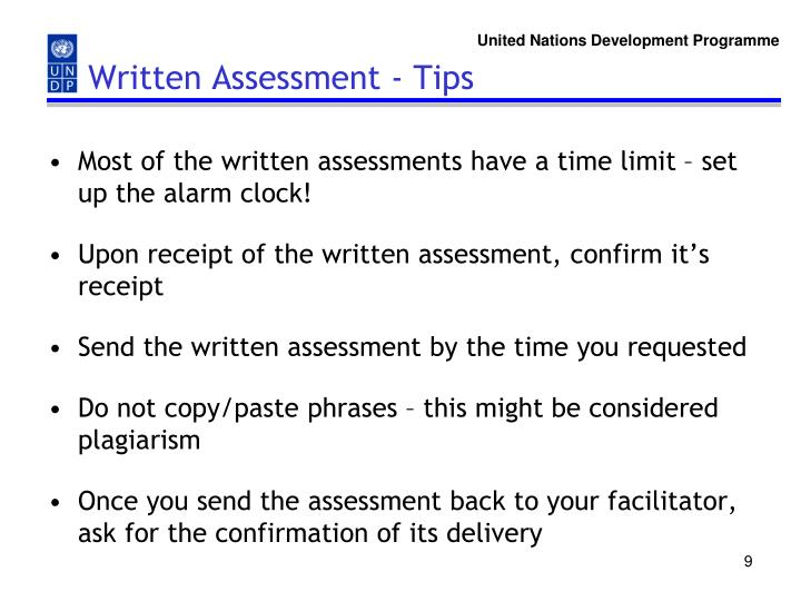 Written Assessment - Tips