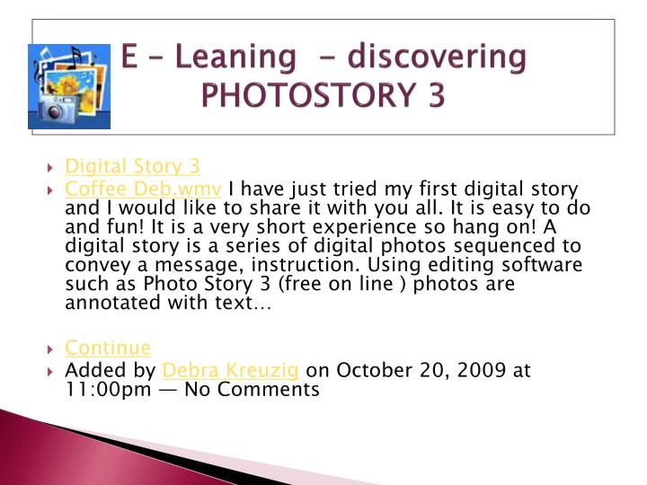 E – Leaning  - discovering PHOTOSTORY 3