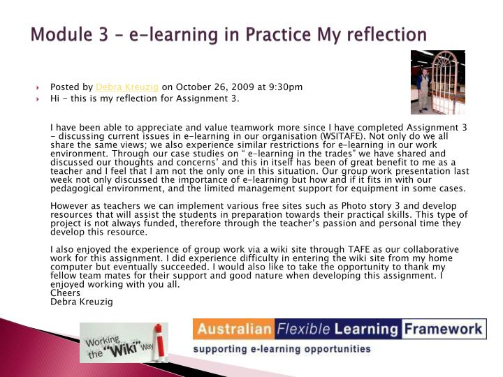 Module 3 – e-learning in Practice My reflection