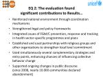 eq 2 the evaluation found significant contributions to results