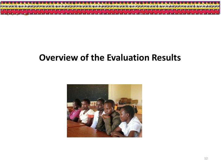 Overview of the Evaluation Results