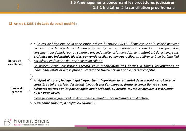 1.5 Aménagements concernant les procédures judiciaires