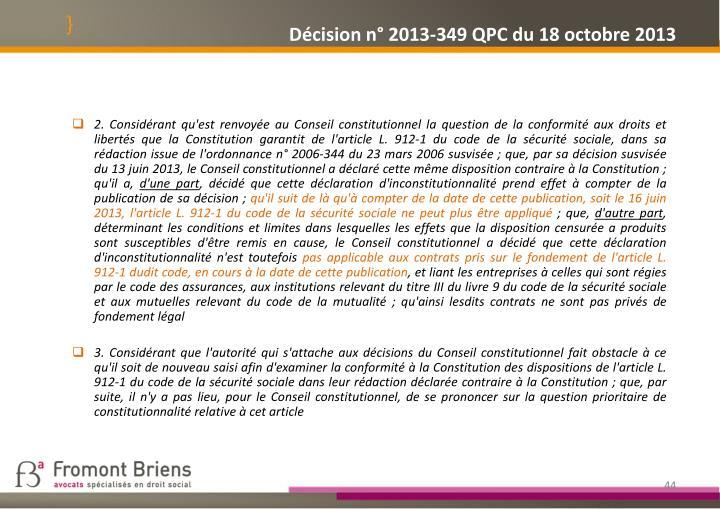 Décision n° 2013-349 QPC du 18 octobre 2013