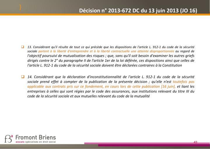 Décision n° 2013-672 DC du 13 juin 2013 (JO 16)
