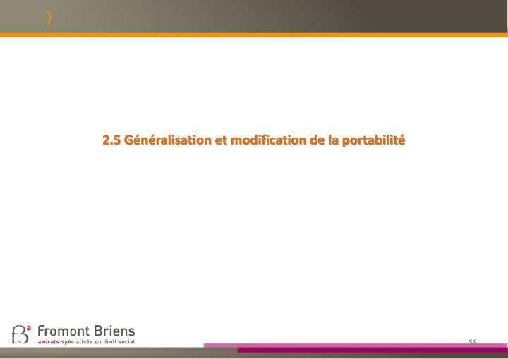 2.5 Généralisation et modification de la portabilité