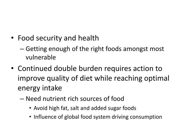 Food security and health