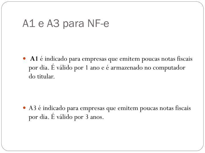 A1 e A3 para NF-e