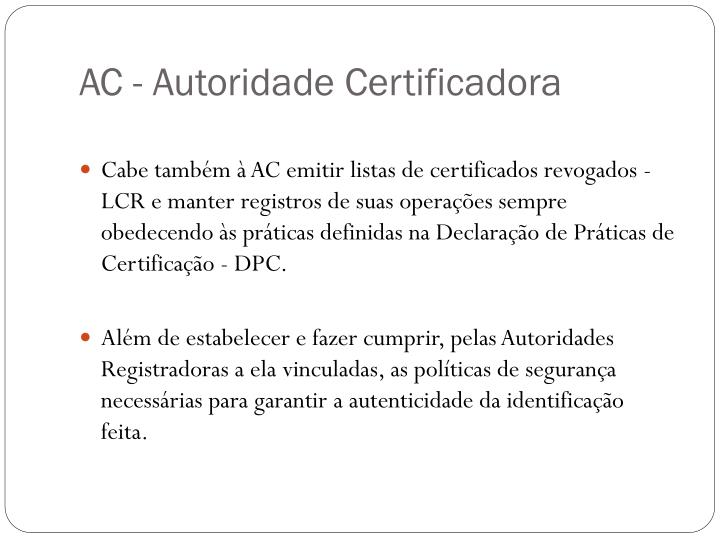 AC - Autoridade Certificadora