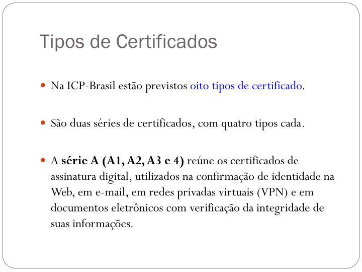 Tipos de Certificados