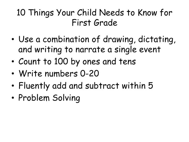10 Things Your Child Needs to Know for First Grade