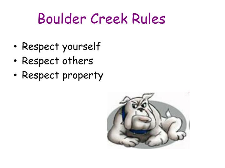 Boulder Creek Rules