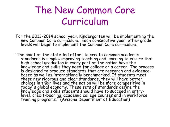 The New Common Core Curriculum
