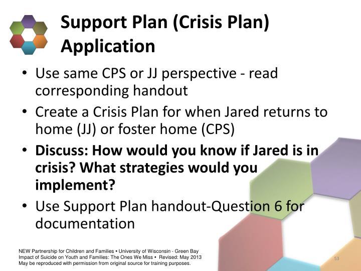 Support Plan (Crisis Plan) Application