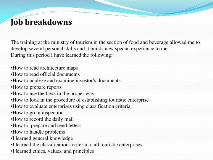 Job breakdowns