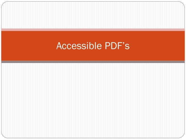 Accessible PDF's