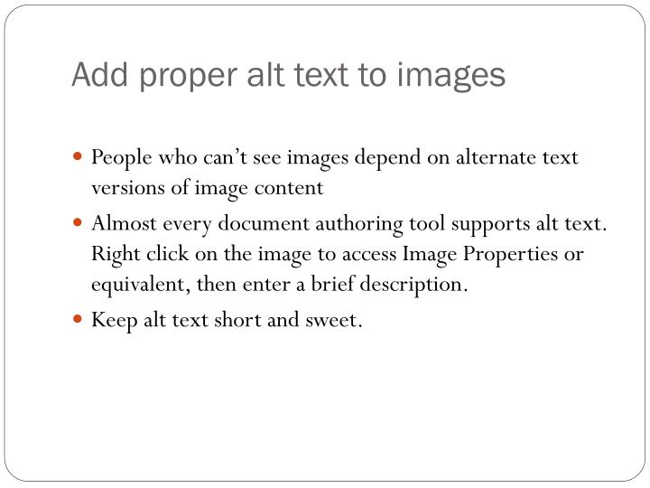 Add proper alt text to images