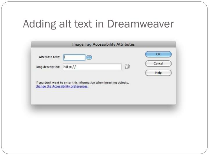 Adding alt text in Dreamweaver